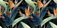 Kwiatowy wzór z tropikalnymi liśćmi